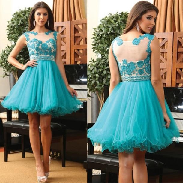 dace4fd8e Vestidos de fiesta de Color Turquesa Barato Corto Cap Mangas de Encaje de  Tul Corto Vestido