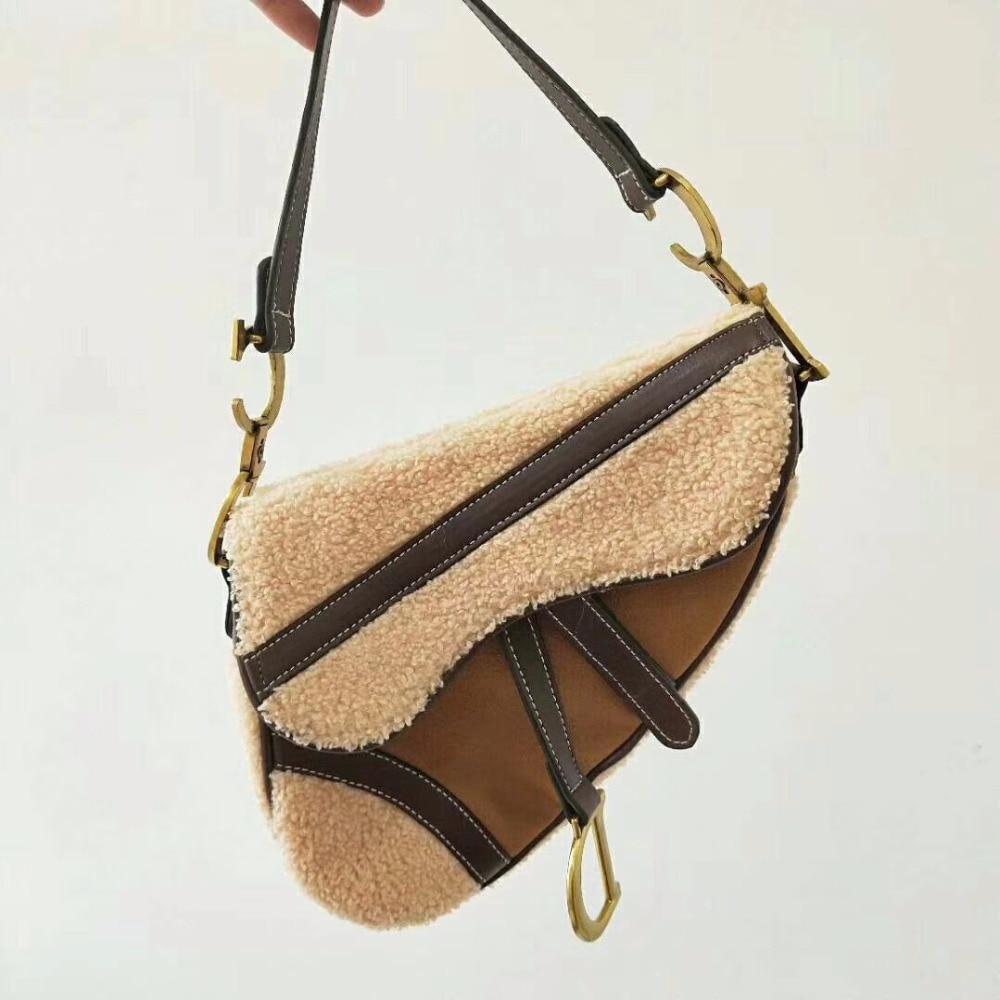 где купить High quality lamb hair PU leather ladies fashion bag shoulder bag Messenger bag handbag large capacity ladies personality saddle по лучшей цене