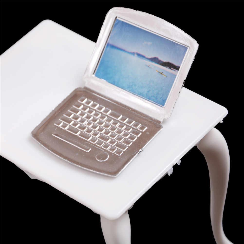 Çocuk oyuncağı kız oyun evi bebek evi minyatür bebek mobilya sandalye çalışma masası/bilgisayar PC masa lambası