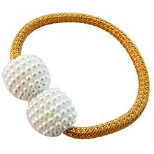New Faux Pearl Beads Weaving Rope Magnetic Curtain Tieback Ring Holder Home Decor