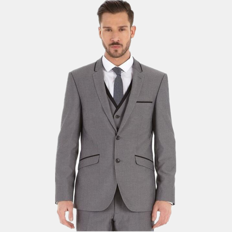 latest men suits grey men\'s wedding suits tuxedos single breasted ...