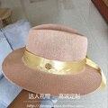 2017 шляпу пользовательских полым из стиль мясо розовый шляпа лента золотой пляж вс шляпа женщина шляпа