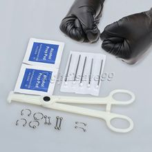 New Arrival Body Piercing Kit Needle Navel Belly Button Tongue Eyebrow Nipple Nose Lip Ring-14G Eyebrow Nose Lip Ring Forcep