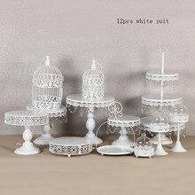 Белый торт стенд круглый кекс стоит Металл десерт Дисплей с хрустальные бусины, белый