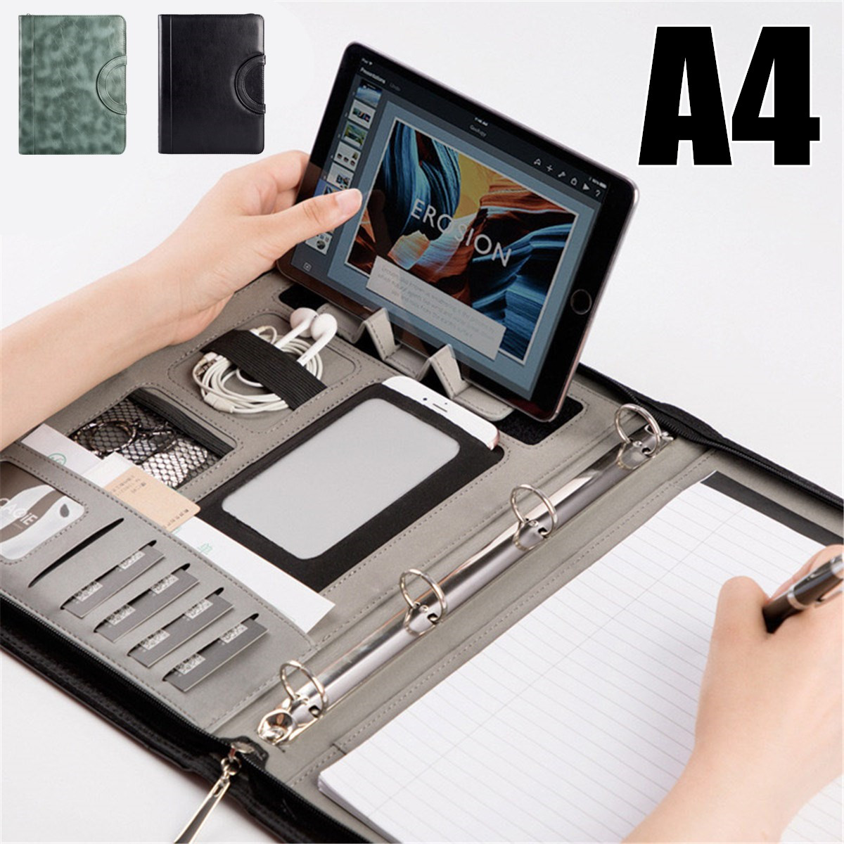 Multi-functional Leather A4 Document Bags School Office Manager File Folder Portable Zipper Storage Bag With A4 20 Sheets PaperMulti-functional Leather A4 Document Bags School Office Manager File Folder Portable Zipper Storage Bag With A4 20 Sheets Paper