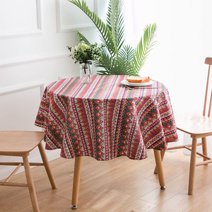 Image 5 - Nodic Print Round Tablecloth Dining Table Cover Obrus Tafelkleed Cotton Table Cloth Wedding Party Banquet Hotel Home Decoration