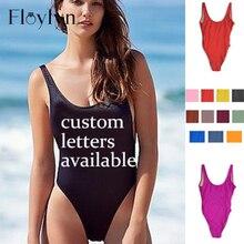 ce5c937805a3a Floylyn Sexy One Piece Swimsuit Custom Letter Print Swimwear Women Summer  Beachwear Lady Bathing Suit Double