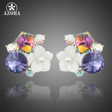 AZORA 2015 Lastest Design Multicolour Stellux Austrian Crystal Flower Stud Earrings TE0172(China)