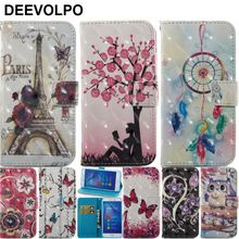 DEEVOLPO Case For Huawei P10 Lite P9Lite P8 2017 Honor 6C Bling Luxury  Flip Leather Cover Tower Chimes Owl Tree Bag DP03H