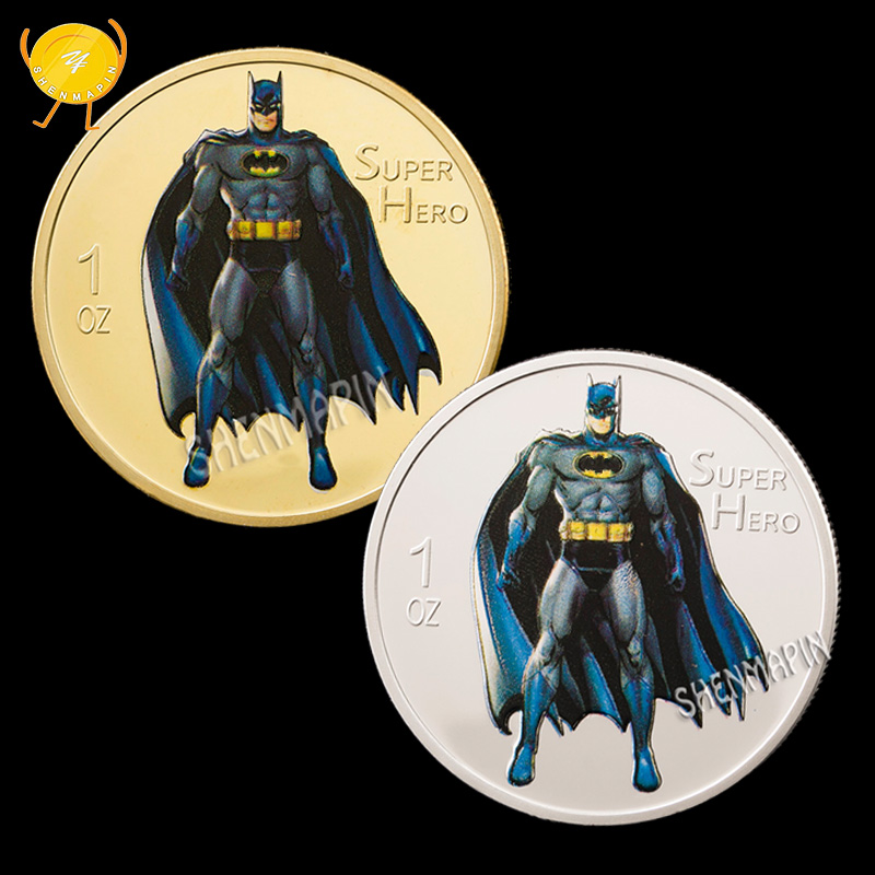 1 Ounce 999 Gold Silver Batman Commemorative Coin Super Hero Animated Movie Coins Collectibles Children's Birthday Cartoon Gifts image