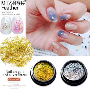 MIZHSE 2019 nuevo Arrivial oro plata hilo de alambre uñas partícula manicura Striping arte brillo línea cinta adhesiva decoración de uñas