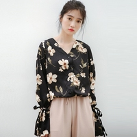 Dioufond Korean Style Blouses Women Floral Chiffon Shirts Fashion Office Lady Tops Work V Neck Clothes