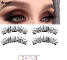 Genailish no glue Lashes Magnetic False Eyelashes 3 Magnet  Eye Makeup 24P-3