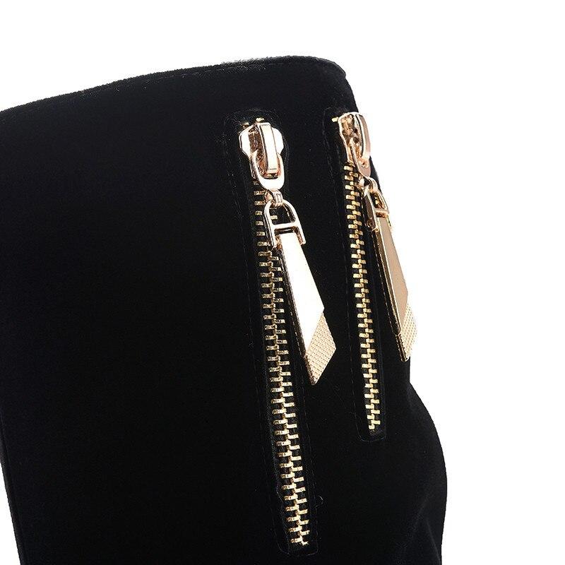 Bottes Genou Grande Noir Lady Simple Femmes Talons 34 Moonmeek 42 Troupeau Carrés Confortable Bout Haute Taille Zipper Rond cRqALSj354