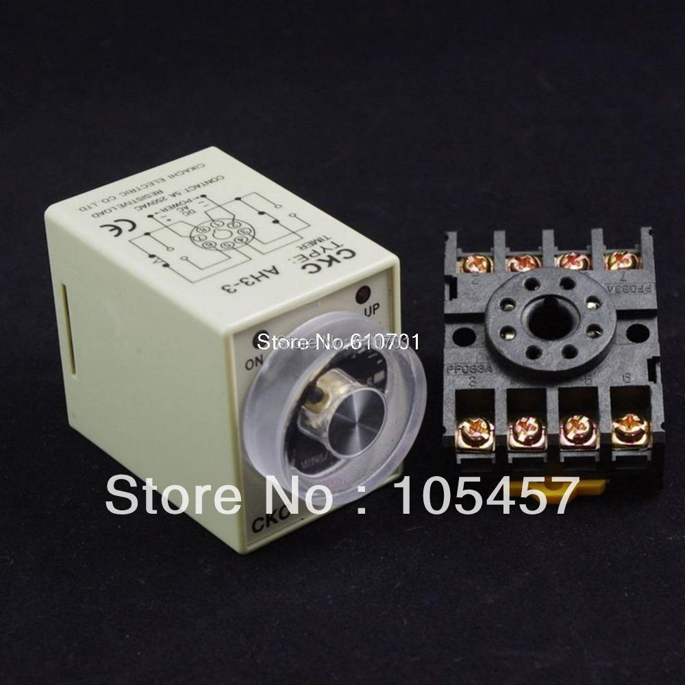 12V/24VDC 12/24V/110V/220VAC AH3-3 0-6min Power on time delay timer relay with PF083A Socket Base