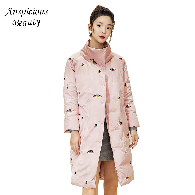 2018 Winter Women Embroidery Down Coats Womens Stand Collar Long Cloak Down Jacket Female Warm Winter Jacker Outerwear CX284