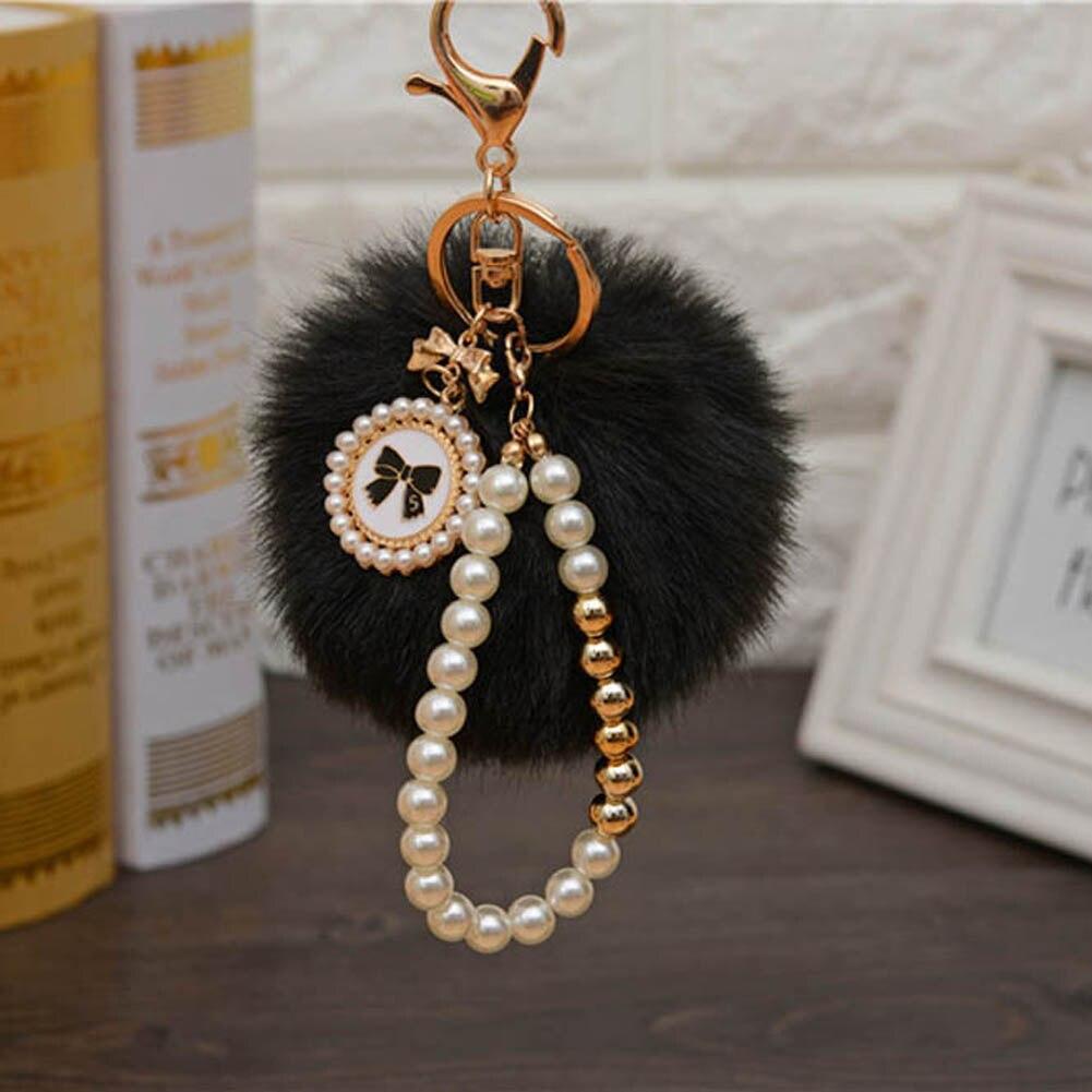 Pearls Pompons Keychain Rabbit Fur Ball Cell Phone Car Keychain Pendant Handbag Charm  PomPom Charm Keyring