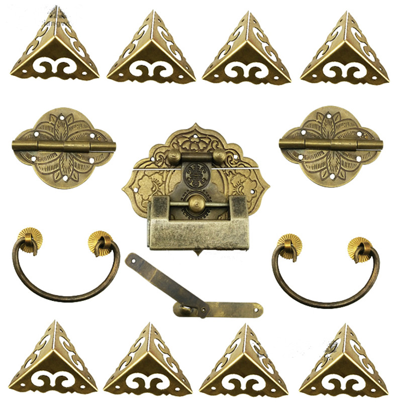 15Pcs Brass Hardware Set Antique Wooden Box Latch Hasp+Pull Handle+Hinges+Corner Protector+Old Lock Furniture Accessories 4pcs antique brass jewelry chest wood box decorative feet leg corner brackets protector for cabinet furniture hardware
