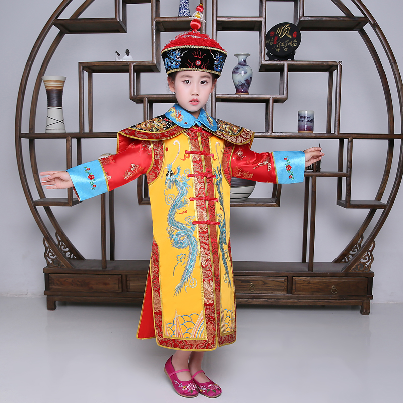 Child Chinese Traditional Hanfu Dress Women Girls Queen Stage Yellow Clothing Costumes Tang Suit Kids Robe+hat Sets summer dresses styles chinese cheongsams for girls traditional chinese dress for children tang suit baby costumes