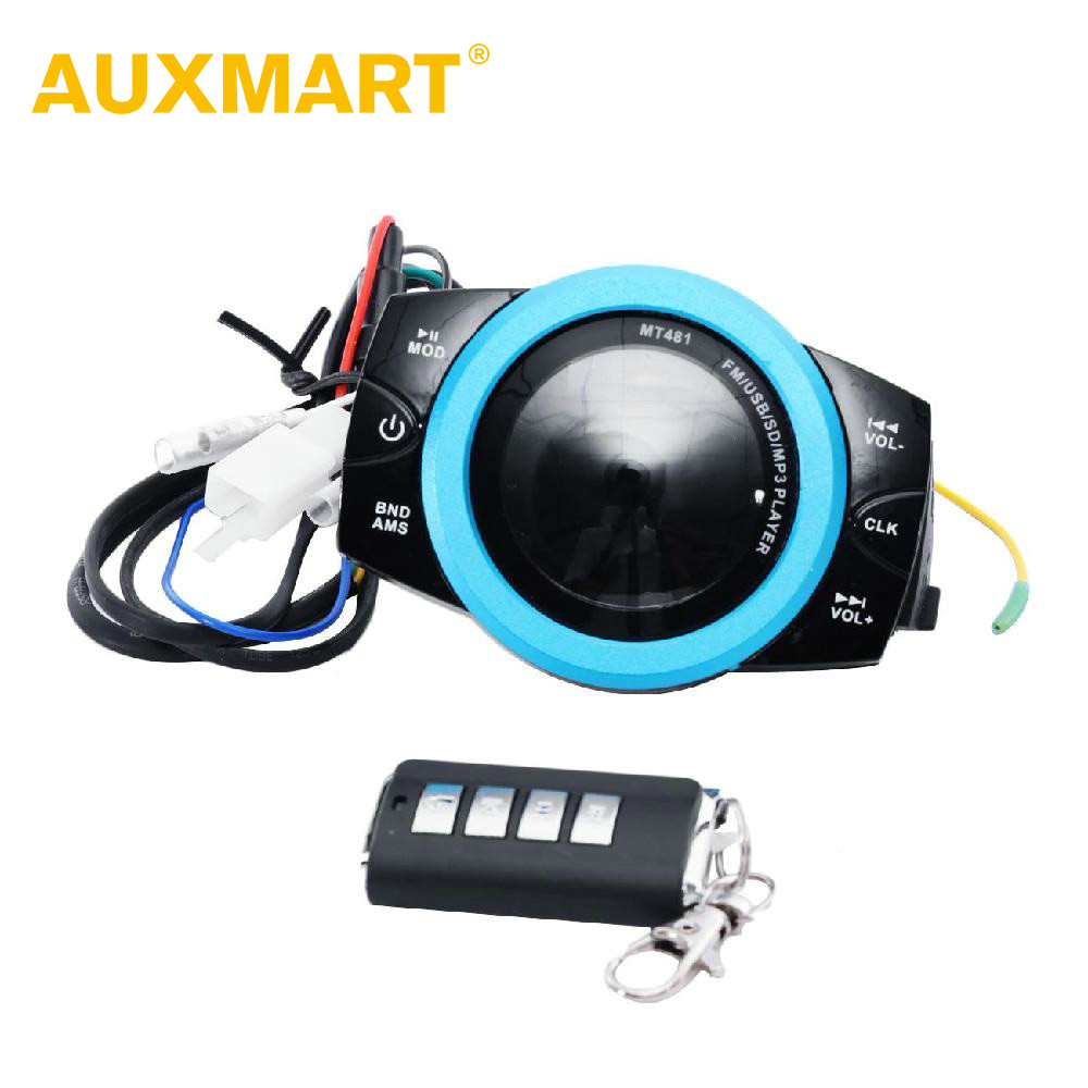 Auxmart Waterproof Motorcycle Anti-theft Audio Radio System Stereo FM/TF/USB/SD/MP3  Audio Lightweight Smart FM