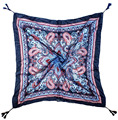 Scarf With Tassels Navy Blue Ground Paisley Print Fashion Vintage Pashmina Cotton Voile Scarves