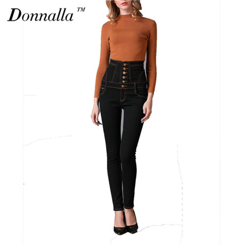 Donnalla Women Jeans Black Jeans Women Denim High Waist Skinny Pants Female Slim -1002