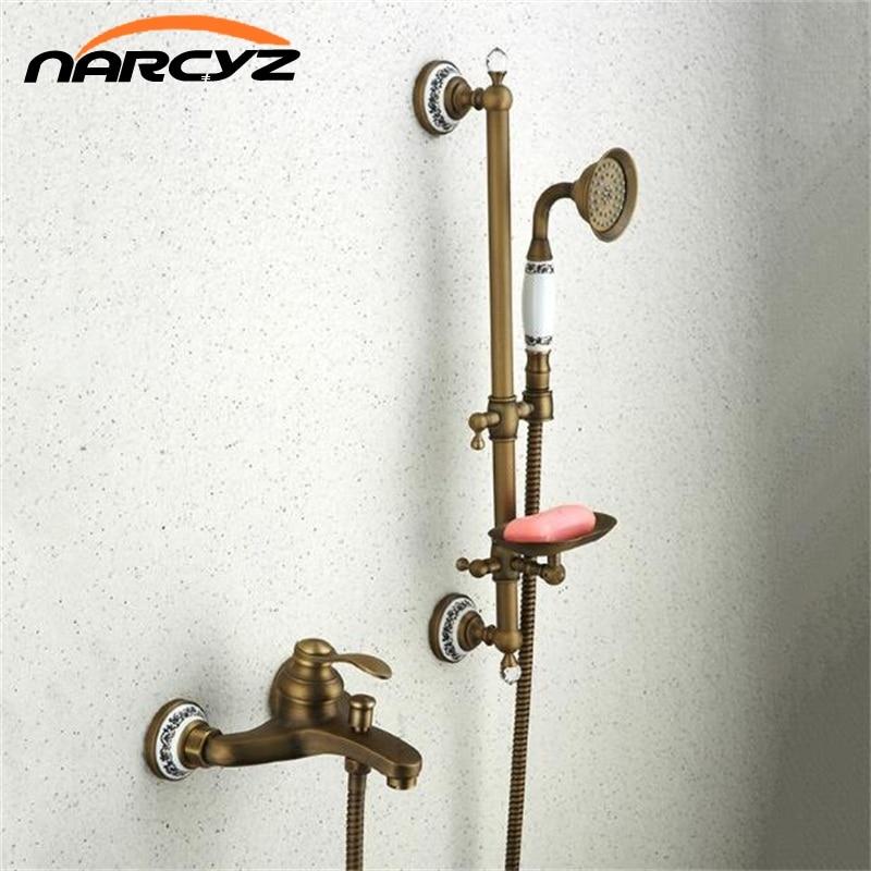 Bathtub Faucets Antique Bathroom Tub Mixer Faucet New Ceramic Style Handheld Bathtub Faucet Wall Mounted Shower Faucets XT362