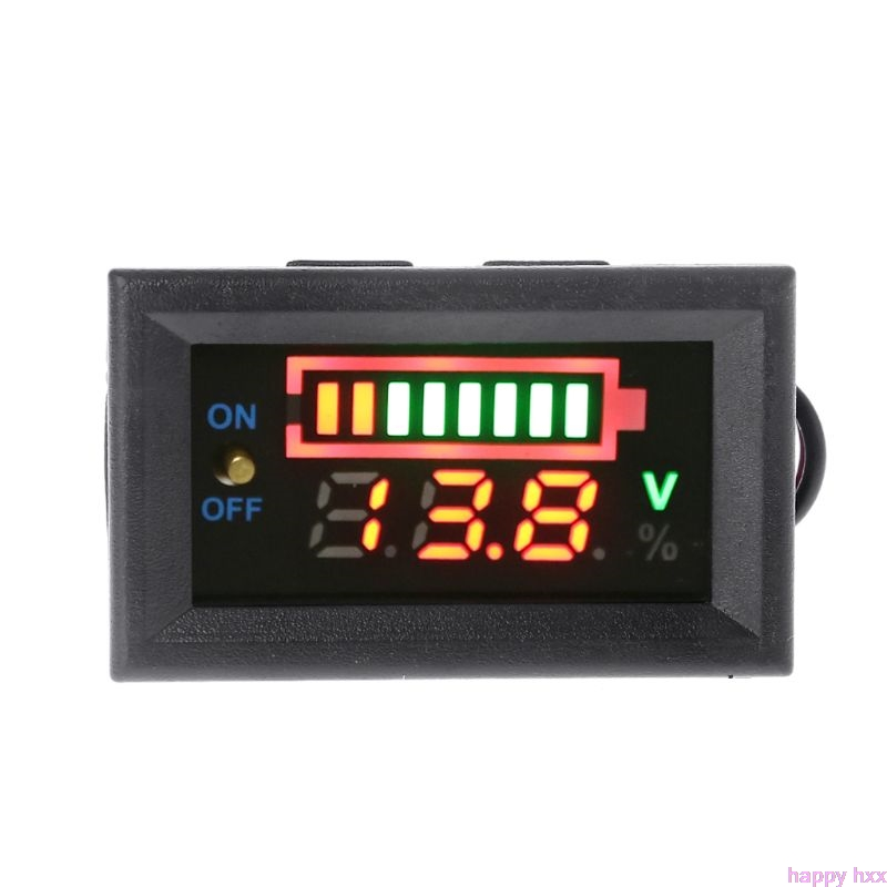 New 12V Car Lead Acid Battery Capacity Indicator Voltmeter Power Tester with Switch