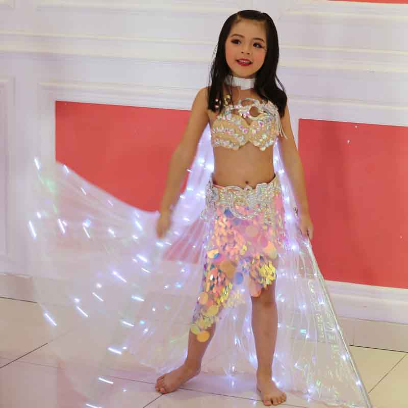 Kids Belly Dance Isis Wings Angle Props 360 Degrees LED Shining Wing Child Dance Isis with Sticks white light Stage Performance