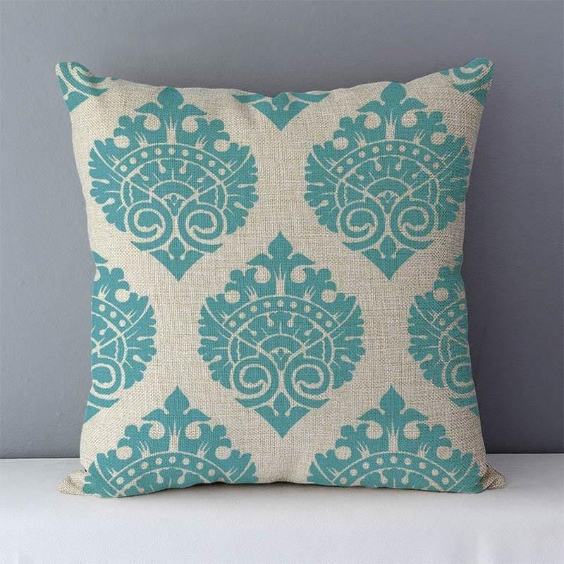 Quality Cozy Popular geometric couch cushion home decorative pillows cotton linen 45x45cm seat back cushions bedding pillowcase