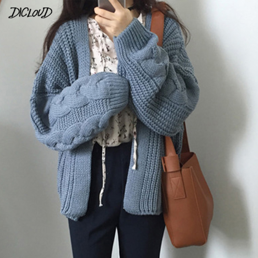 DICLOUD Solid V Neck Knit Sweater Women Autumn Korean Long Sleeve Loose Sweater Cardigan Ladies Casual Warm College Winter Coat