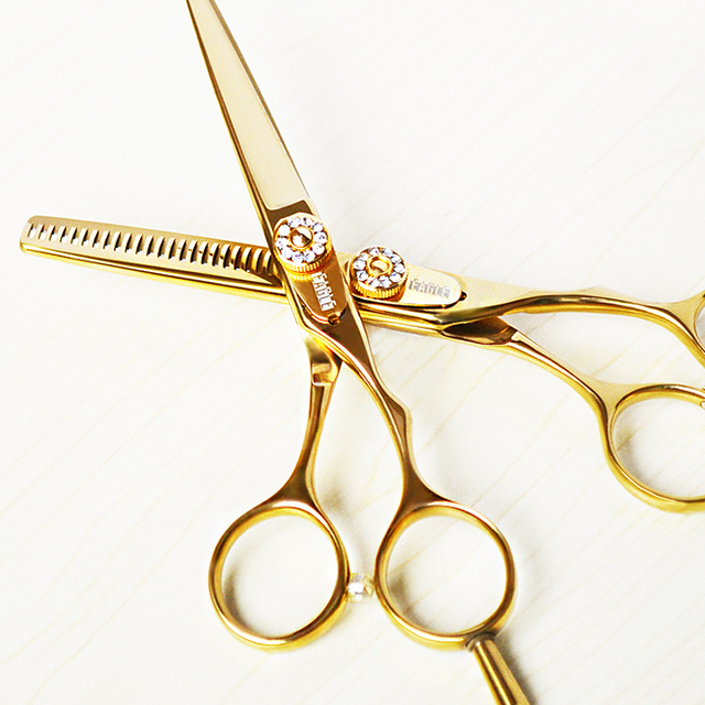 Oro titanio 5.5 pollice forbici taglio dei capelli e diradamento dei capelli forbici di vendita calda forbici fissato il trasporto libero