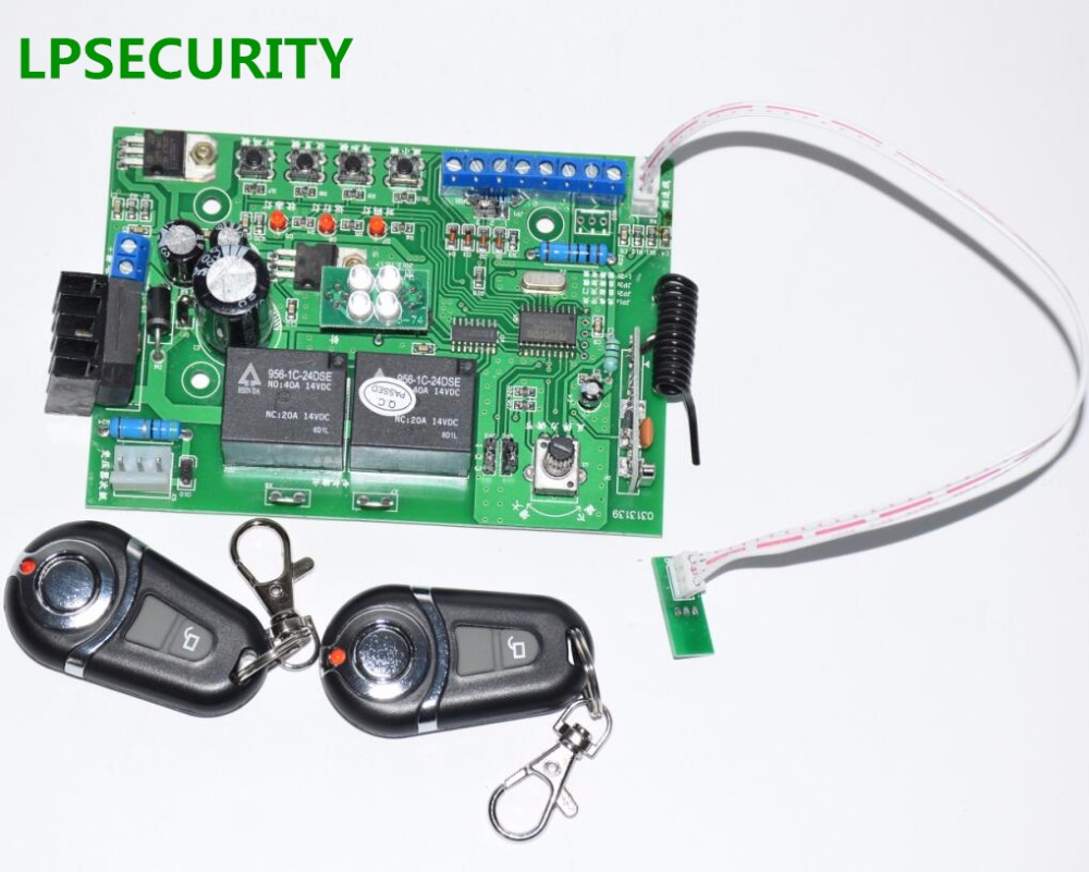 LPSECURITY Motherboard Pcb Controller Circuit Board For Garage Gate Door Opener Motor(24VDC Motor Use) 2 Remote Controls