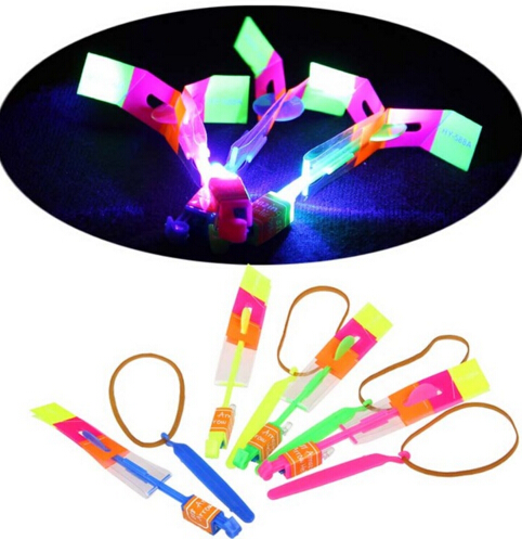 Glow in the Dark Children Toy LED Flier Flyer LED Flying Amazing arrow helicopter Flying Umbrella Kids toys