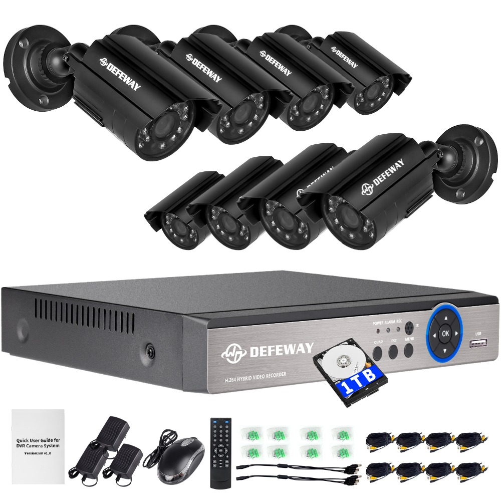 цена DEFEWAY 720P HD 1200TVL Outdoor Security Camera System 1080P HDMI CCTV Video Surveillance 8CH DVR Kit 1TB HDD AHD Camera Set