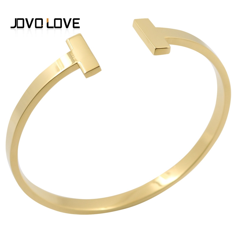 JOVO Elegant Open Cuff Bracelets & Bangle for Women Men Jewelry Luxury Gold Color Quality Steel Bracelet Cuff Bracelet for Gift shiny polyhedron beads bracelet cuff jewelry for women