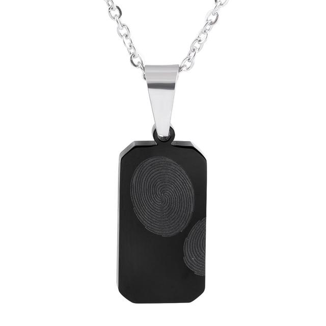 Vintage 316l stainless steel black fingerprint pendant necklace for vintage 316l stainless steel black fingerprint pendant necklace for women mozeypictures Image collections