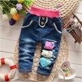BibiCola Primavera Otoño de los bebés de invierno gruesa pantalones calientes de la cachemira niños jeans niñas bebés de los pantalones vaqueros pantalones de los niños al por menor