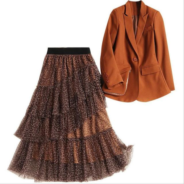 Elegant Office Lady Blazer Suit Set 2019 New Designer Spring Women Notched Collar Blazer+Leopard Skirt 2Pcs Set Fashion Outfits