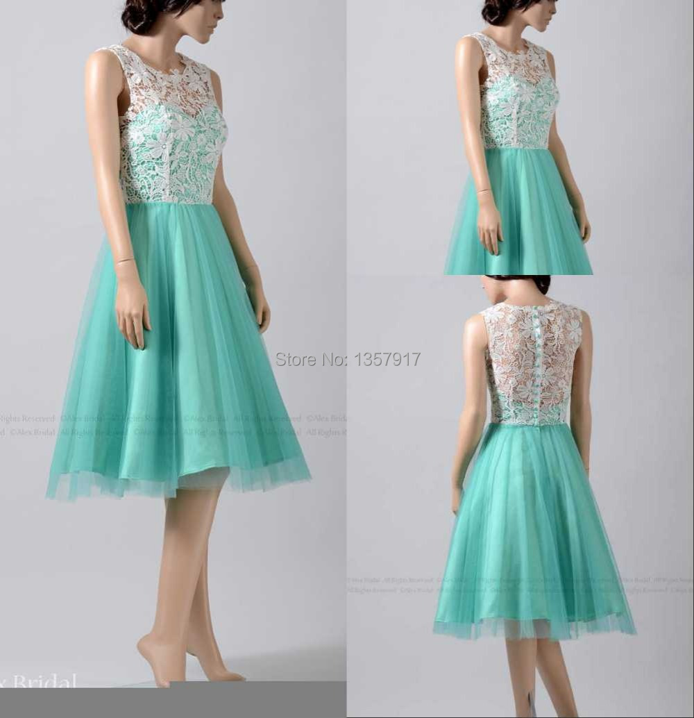 Online get cheap turquoise bridesmaid dresses knee high emerald color sleeveless knee length bridesmaid dress lace knee length turquoise brides maid dress with buttons ombrellifo Choice Image