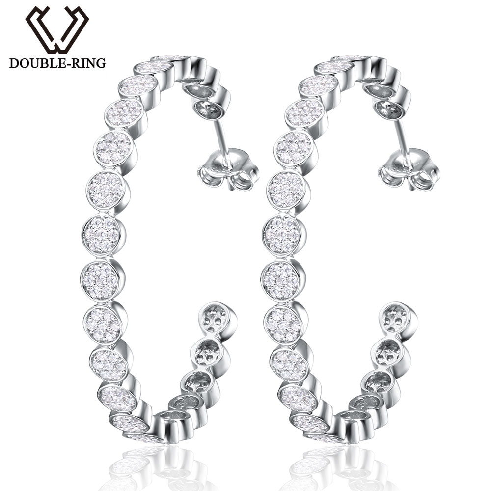 DOUBLE R Classical round Natural White Topaz Hoop Earrings For Woman Real 925 Sterling Silver Earrings Fine Wedding Jewelry