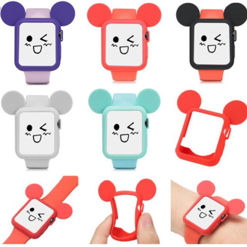 Cute Cartoon Mouse Ears Soft Silicone Protective Case for Apple Phone iWatch Series 2 Colorful Cover