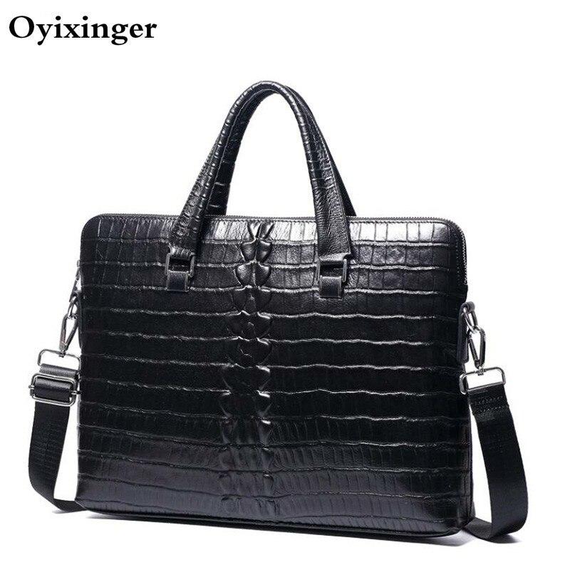 Fashion Men's Genuine Leather Briefcase Men Black Handbags Crocodile Pattern Cow Leather Male Shoulder Bag Business Bolso Hombre