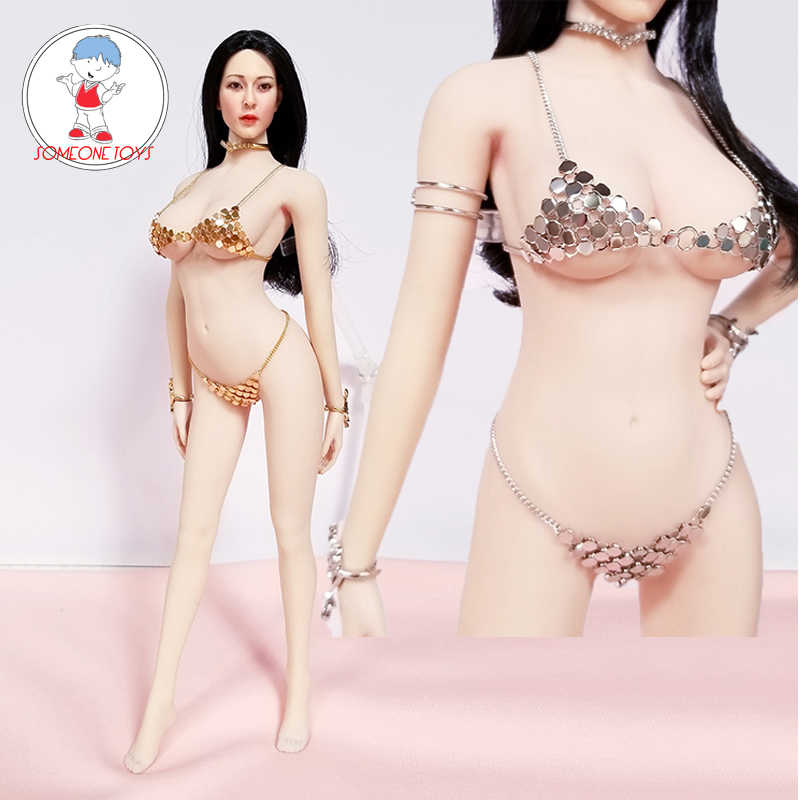 "1:6 Black  Female underwear Bikini Set W Stocking For 12/"" Phicen Large Bust Body"