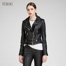 YUKOU abrigo de mujer de moda de cuero de piel de oveja de Mujer Chaquetas de ropa de cuero de piel de oveja de cuero Real corto de 3 colores