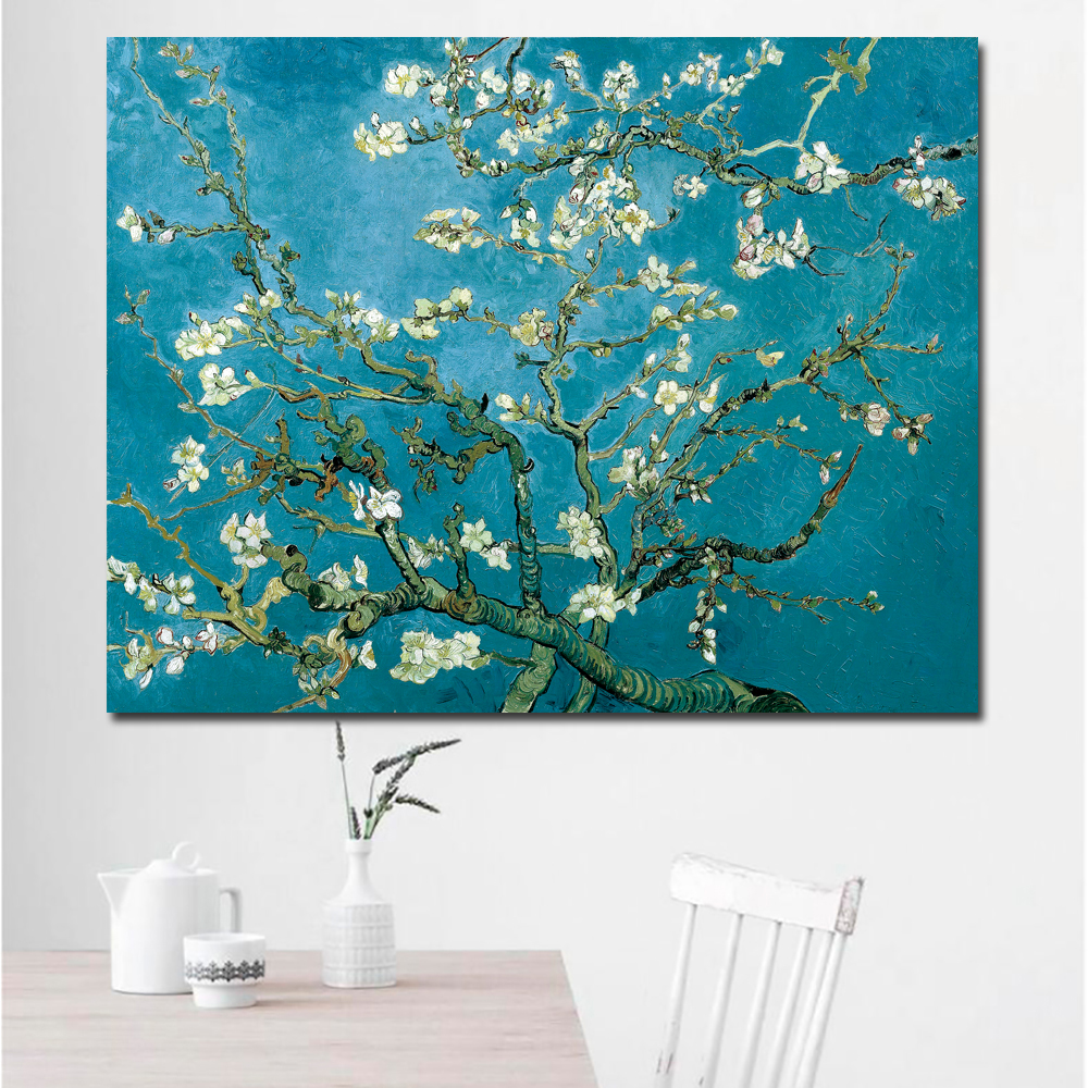 SELFLESSLY Blossoming Almond Tree By Van Gogh Flower Reproduction Works Oil Painting Canvas Print Wall Picture For Living Room