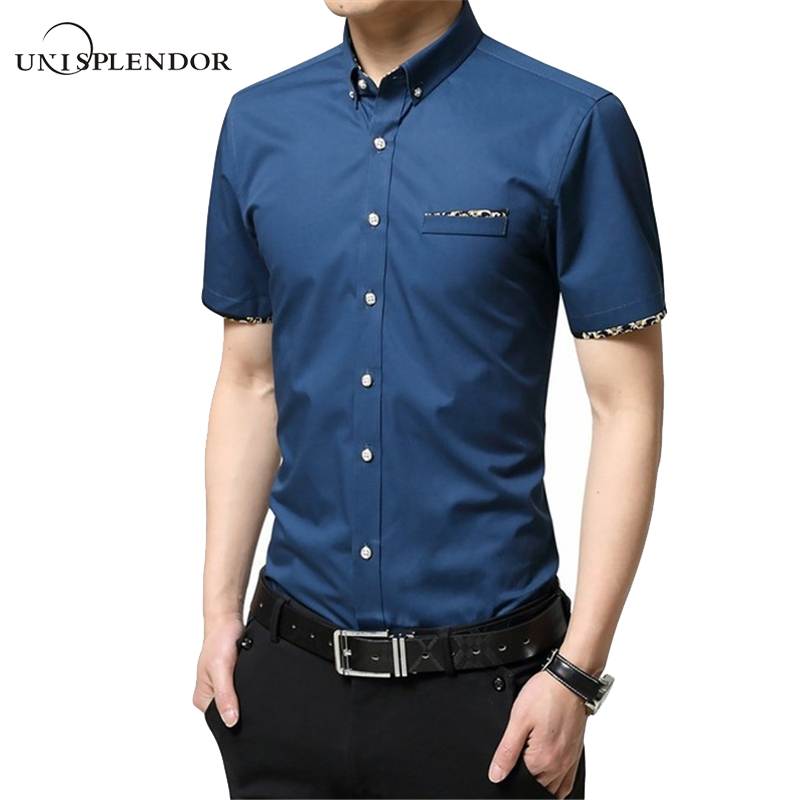 M 5XL 2017 New Summer Men Shirts Male Short Sleeved Solid Solid Color Cotton Slim Fit