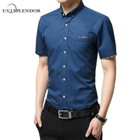 M 5XL 2016 New Summer Men Shirts Male Short Sleeved Solid Solid Color Cotton Slim Fit