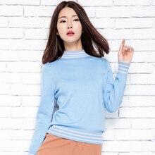 2016 new Half rib cashmere sweater sleeve stripe shirt sweater knitting leader for women girls  Tops Qulity Clothing