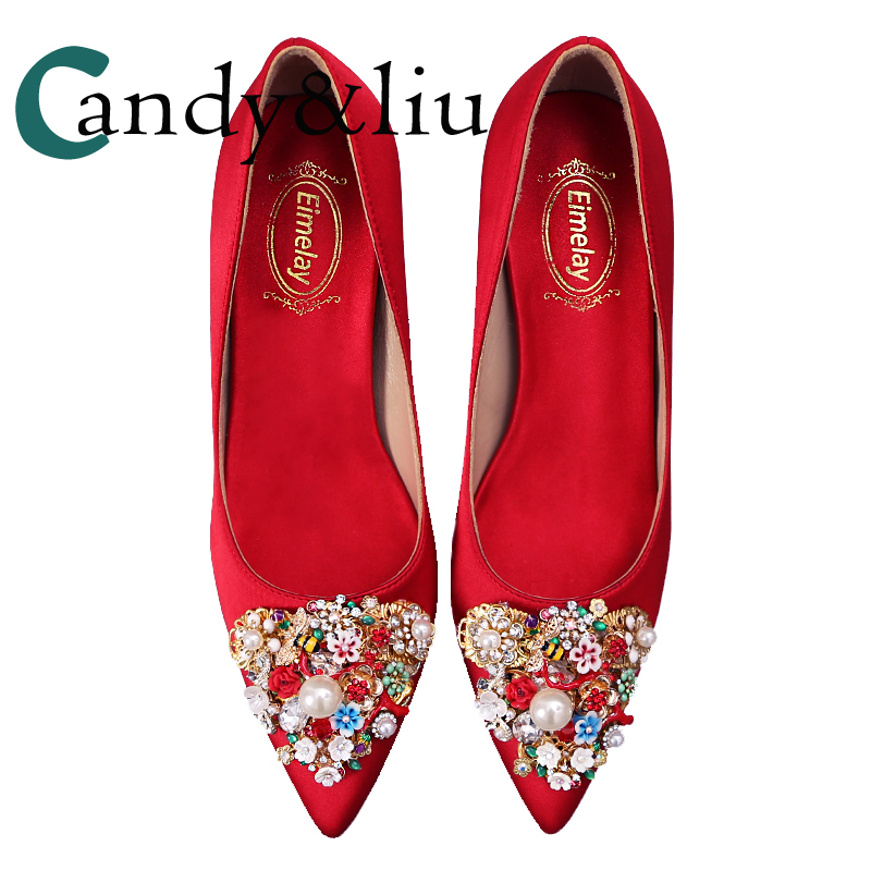 elegant shoes super quality reasonably priced US $48.86 30% OFF|Red Wedding Shoes Cyrstals and Rhinestones Women Pumps  for Bridal Bridesmaid Evening Dress Party Banquet Reception Pointed Toe-in  ...